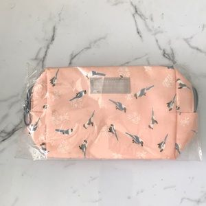 Handbags - Peach travel cosmetic pouch grey birds new